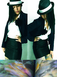 Jenny Z.Qiaopo - Cotton On Hat, Esprit Blazer, Leather Skirt, H&M Stockings, G2000 Blouse - Cool Day Out.