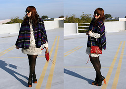 Adiel C - Karen Walker Tortoise Sunglasses, Jeffrey Campbell Foxy Shoes, Comme Des Garçons Vintage Plaid Cape, Target Lace Dress, Rebecca Minkoff Mini M.A.C., Hue Tights - Plaid Cape