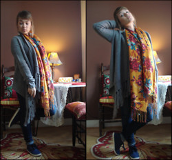 Mary Smith - H&M Scarf, H&M Cardigan, H&M Shoes - Comfortable Florals