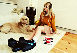 Amanda Brohman - Jeffrey Campbell Shoes, H&M Mustard Sweater, Monki Cream Skirt, Romwe Shirt - You are so yeah yeah, wow wow