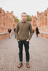 Stay Classic - Topman Sweater, Doctrine Denim Jeans, Club Monaco Shirt, Topman Boots - October 20, 2011. Verona, Italy.