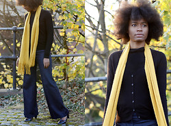 Tanya Weekes - A Very Cheap Shop Navy Patent T Bar Shoes, My Mum's Wardrobe Mustard Scarf, Mango Turtle Neck, H&M Cardigan, Jane Norman High Waisted Wide Leg Indigo Jeans - My Mustard Scarf!