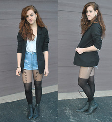 Darina M - Aldo Earrings, H&M Blazer, Topshop Tights, Goodwill Thrifted Booties - Everything is going to change