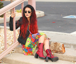 Beneaththeglass . - Forever 21 Studded Jacket, Telltale Hearts Vintage Tie Dye Dress, Vintage Boots, Telltale Hearts Vintage Purse - Telltale Hearts