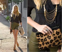 Jennie L - Laura Lombardi Necklace, Wilfred Blouse, Forever 21 Leather Shorts, Cynthia Vincent Pouch, Mia Shoes - Golden lights