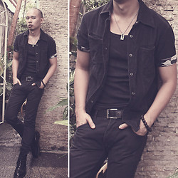 Chris Dela Cruz - Dr. Martens Army Boots, Cross Necklace, Tank Top, Polo Black With Military Print, Black Belt, Bench Black Pants - Beads and Cross