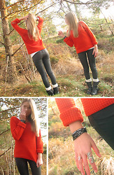Hilda M - Bianco Black Boots, Vero Moda Orange Sweater, Gina Tricot Black Vaxed Jeans, Humanity Bracelet - You miss 100 percent of the shots you never take.