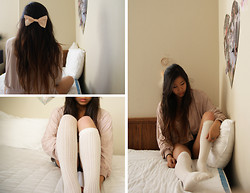 M. Satsuki - American Apparel Peach Bow, H&M Mauve Suede Y Jacket, H&M Mauve Crop Top, H&M Creme Knitted Knee Highs - Falling awake