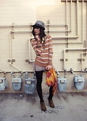 Josephine Chang - Forever 21 Brown Lace Up Booties, Forever 21 Grey Fedora, Target Brown And White Striped Sweater, H&M Yellow And Black Starred Button Down, H&M Light Brown Pleated Shorts, H&M Orange Floral Scarf, Black Tights - You make me believe in all the unbelievable