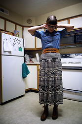 Madeline M - Forever 21 Denim Shirt, Wet Seal Stretchy Belt, Wet Seal Maxi Skirt, Wet Seal Boots - In da kitchen