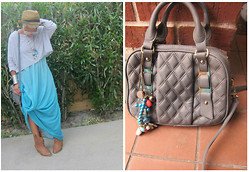 Tori Shalea' - Zara Cropped Tee, Zara Top Handle Purse, Controvery Handmade Necklaces, Liz Lange Maxi Dress, Random Cowboy Boot - WHEN I BROUGHT YOU BACK