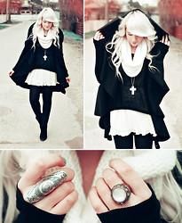 Kerti P. - Cape, Scarf, White Dress, Black Sweater, Seppälä Cross Necklace, Oversized Ring - My name is Death and the end is near.