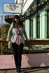 Cee F. - Pins & Needles Sweater, Wilfred Blouse, H&M Belt, Rebecca Minkoff Purse, Gap Pants, Aldo Boots - The Funnest Place on Earth