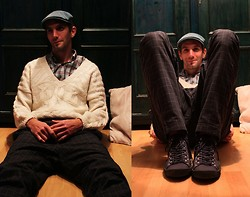 Szilard Brasnyo - Dr. Martens Shirt, Kangol Cap, Hand Made Vintage Sweater, H&M Sneakers, Dr. Martens Pants - The world on you depends, our life will never end