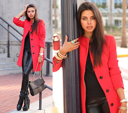 Annabelle Fleur - J. Crew Coat, Bcbg Pants, Asos Boots, Rebecca Minkoff Bag - San Diego Diary | Red Day