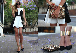 Jessica Stein - Asos Contrast Dress, Asos Gold Cuffs, Zara Sequin Clutch - Contrast