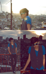 TAto Prado - Ray Ban Aqua Blue Frames, Gray Diy Vest, Zara Black Skinnies, Converse Denim Chucks - The Sunset Factory