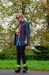 Daniella Robins - Aubin And Wills Cape, Asos Cropped Orange Sweater, Equipment Blue Shirt, Topshop Cropped Trousers, Jeffrey Campbell Wedges - Length Play