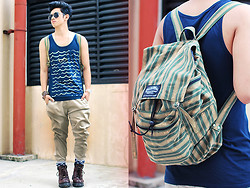 David Guison - Thrifted Boots, Sagada Weaving, Philippines Rucksack, F&H Necklace, Forever 21 Tank Top, Sm Accessories, Ice Watch, Bench Pants - Deep Valley