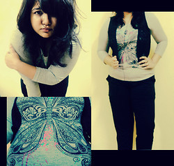 Debiparna C - Grey Top, Chemistry Ankle Length Black Pants, Vero Moda Crochet Vest - Let it all out