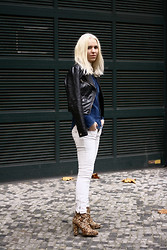 Josephine M. - Zara Jeans Shirt, H&M Leather Jacket, Zara Pants, Topshop Shoes - Grr
