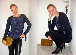 Vanda Santos - Zara Top, La Redoute Leggins, Local Shop Clutch - Leo+Leather+Fur