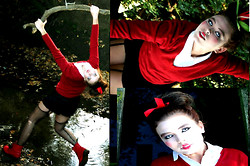 Daisypeach Davis - Cut Tights, Black Shorts, Dorthy Perkins Rouge Red, Republic White Shirt, White Contacts - Im a zombie at heart