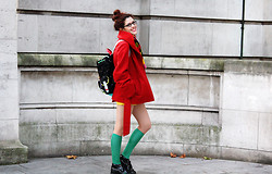 Lucy Nicholls - Lazy Oaf Space Rucksack, Topshop Cropped Coat, Asos Socks, Kickers - Colourful School Girl Perhaps?