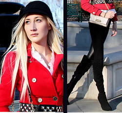 Carly Cristman - Red Jacket, Patricia Field Studded Belt, Nina Platform Crystal Boots, Juicy Couture Sparkle Clutch - Be the Bigger Person- The View is Better From the Top