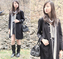 Sabrina Kwan - Peacoat, Sequin Skirt, American Apparel Scarf - Something a mom would wear