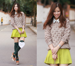 Mayo Wo - Yesstyle Faux Leather Collar, Romwe Chunky Knit Jumper, Yesstyle Lime Skirt - 3D polka dots