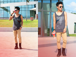 Miko Carreon - Turner Watch, Ray Ban Aviators, Cotton On Graphic Tank Top, Topman Necklace, Topman Skinny Chino, Dr. Martens Boots, Sm Accessories Bracelet - Morning Coffee