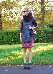 Daniella Robins - Topshop Snood, Twist And Tango Leather Jacket, Cacharel Floral Dress - Long Lined Leather
