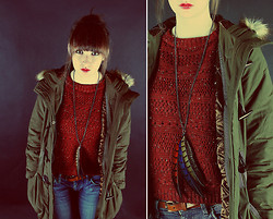 Rach Roberts - Mum Vintage Green Doc Martins, Topman Feather Necklace, Vintage Red Knit Jumper, Khaki Green Parka, H&M Brown Leather Belt, H&M Skinny Jeans - Warm winter.