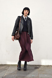 Maggie Matic - Jeffrey Campbell Lita's, American Apparel Pinpoint Oxford Round Collar Short Sleeve Button Up Shirt, American Apparel Cable Knit Pullover, Topshop Burgundy Maxi Skirt, Urban Outfitters Triangle Necklace, Raiders Vintage Biker Jacket - Leyendecker.