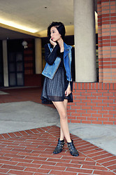 Jenny Ong - A|X Mixed Denim Moto Jacket, Dolce Vita Phebe Slipdress In Black, Jeffrey Campbell Starburst Booties - Two-toned