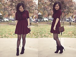 Jamie C. - Asos Spotted Dress W/ Peter Pan Collar, Zara Leopard Print Purse, H&M Sheer Tights, Forever 21 Suede Boots - The polka (autumn's version).
