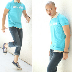 Chris Dela Cruz - Government Blue Shirt, Yellow Pollow, Blue Jeans, Chuck Taylor, Buddhist Beads - Good Vibes