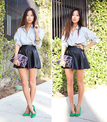 Aimee Song - H&M Wesley Mason's Shirt, Camilla Zarsky Clutch - The Boyfriend Shirt, Literally.