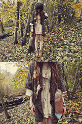 Ashlei Louise . - Romwe Faux Fox Tail, Rick Owens Hair Feathers, Necklaces, Jeffrey Campbell Shoes, Romwe Dress - A walk in the woods // My new fox tail from ROMWE!!