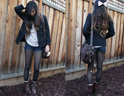 M. Satsuki - Forever 21 Black Coat, Forever 21 Pink Lace Top, Forever 21 High Waisted Shorts, H&M Mauve Socks, H&M Brown Combat Boots, American Apparel Mauve Bow - Crooked teeth
