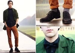 Jonas Stenberg - Swedish Military Jacket, H&M Brown Pants, No Idea Suede Shoes, Stockholms Stadsmissionen Little Black Bowtie - I will fight back, even when im not dressed for it