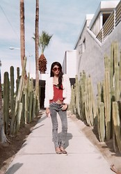 Kristine Lo - Fringe Faux Fur Jacket, Acid Wash Jeans - Heaven is a place on Earth with you.