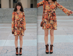 Lauren Winter - Handmade Fall Flowers Dress, Urban Outfitters Brown And Black Wedge Boots, American Apparel Gold Heart Watch Necklace, Thrift Store Vintage Leather Purse - Birthday dress!