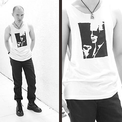 Chris Dela Cruz - Diy Tank Top, Ganglamesh Pendant, Bench Black Jeans, Dr. Martens Army Boots, Buddhist Beads - Karl Lagerfeld's Army