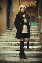 Kristina G. - Valentino Bag, Watch Necklace, Zara Shoes, Sweater, Otk Socks, Zara Belt, Hat, Coat, Velvet Skirt - Parisienne
