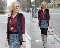 Liat Neuman - Bcbg Top, Guess? Vest, Topshop Skirt, Urban Outfitters Neacklace, Nine West Boots - Last days before the snow arrives