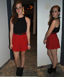 Darina M - Forever 21 Red Skirt, H&M Collared Shirt, Jeffrey Campbell Lita Boots, Thrifted Tribal Earrings - Take me Back