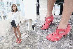 Julienne Raboca - Sham Shui Po Sheer White Shirt With Black Color, Taipei, Taiwan Scallop Shorts, The Shop Coral Peeptoe/Cutout Heels - I'm too proud for love
