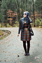 Kimberly Grace . - Beacon's Closet Vintage Dress, Forever 21 Leather Jacket, Sea Of Bees Deer Necklace, Melie Bianco Bag, Seychelles Meteor Shower Boots - Forget me not, my love...